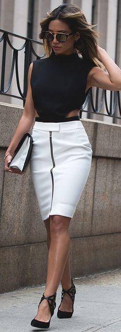 L'Agence Corine Zip Front Skirt + Barbara Bui Waist Strap Crop Top
