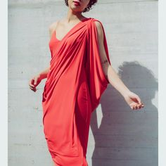 Queen draped dress in coral Skirt Belt, Pleated Skirt, Dark Red Dresses, Tuxedo Dress, Queen Dress, Black Tuxedo, Coral Dress, Draped Dress, Dress First