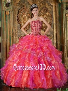 Beading and Ruffles Accent Multi-Colored Quinceanera Dress Gown