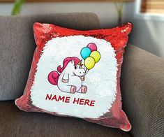 Balloons Unicorn Personalized Sequin Cushion cover with your name unicorn sequin pillow personalised sequin cushion cover magic sequin cover by funkytshirtsfactory on Etsy Sequin Pillow, Unicorn Cushion, Cushion Covers, Soft Fabrics, Balloons, Cushions, Sequins, Magic