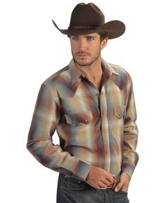 Red Ranch Rusty Obmre Plaid Sawtooth Pocket Shirt