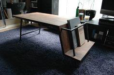 ブックシェルフ付きローテーブル