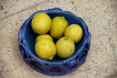 Ceramics blue basket with lemons  By Varda Artisticolors