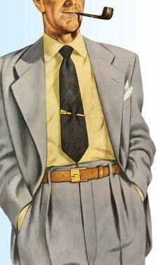Roger Wilkerson, The Suburban Legend! Vintage Gentleman, Gentleman Style, Vintage Men, 1940s Fashion, Fashion Art, Vintage Fashion, Fashion Illustration Vintage, Retro Men, Suit And Tie