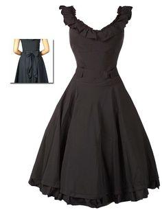 Rüschen Kleid Schwarz - Rockabilly Clothing - Online Shop für Rockabillies und Rockabellas