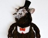 Krampus paper toy doll - a mean holiday monster who tortures small naughty kids!