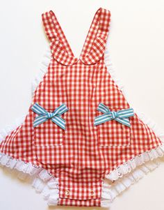 Vintage inspired baby sunsuit in red gingham | Runaway Pony Sunkissed Sally