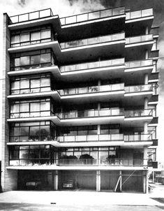 Vista de la fachada a la calle Dickens, Edificio de departamentos, Platón 445, Polanco, México, DF 1958 Arq. Vladimir Kaspé - Side street façade, Apartment buildng, Polanco, Mexico City 1958