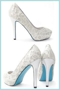 Eva - Chantilly lace with blue sole wedding bridal shoes by Bella Belle 'Something Blue'
