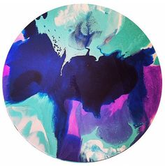 Resin art. 90cm round mixed media and resin by HelloSundayDesigns