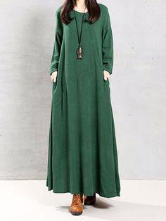 Women Vintage Cotton Tunic Baggy Long Sleeve Maxi Dress - L Green Long Sleeve Maxi, Maxi Dress With Sleeves, Dress Skirt, Plain Dress, Hijab Dress, Shirt Dress, Blouse, Cotton Tunics, Cotton Dresses