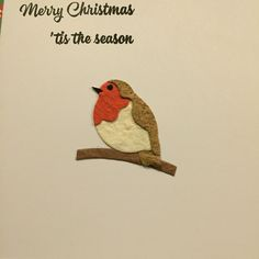 Robin made of mulberry paper and message stamped and embossed