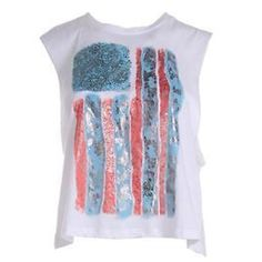 American Flag Muscle Tank NWT - Wht Muscle Tank W-screen Juniors Large. Blue, white & peachy colors. Large armholes. Tops