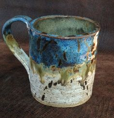 Stoneware Coffee MUG  in Blue, White and Golden Tan