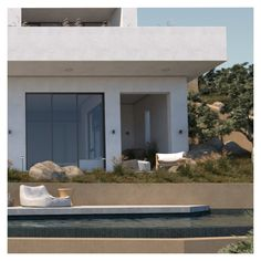 """The individual building volumes come together through the single plate. This plate acts not only as a shelter in the """"occupancy – vacancy"""" agreement that is being created in the middle level, but also as the master bedroom's exterior. Outdoor Spaces, Outdoor Decor, Entrance Design, Pool Houses, Crete, Shelter, Facade, Architecture Design, Master Bedroom"""