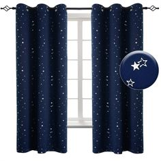 Shop for BGment Navy Star Blackout Curtains Kid's Bedroom - Grommet Thermal Insulated Room Darkening Printed Curtains Living Room, Set 2 Panels x 63 Inch, Dark Blue) online - Fayafashionable Boys Bedroom Curtains, Kids Blackout Curtains, Kids Curtains, Curtains Living, Room Darkening Curtains, Grommet Curtains, Bedroom Themes, Drapes Curtains, Kids Bedroom