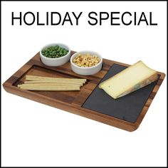 WoodardandCharles.com - Acacia Wood Slate Cheese Board