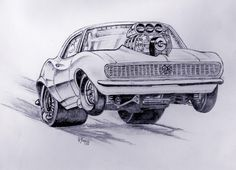 Drag Car Cartoon Drawings - Only Cars Car Drawing Pencil, Cartoon Car Drawing, Cartoon Art, Cars Cartoon, Drawing Drawing, Pencil Drawings, Classic Trucks, Classic Cars, Cool Car Drawings