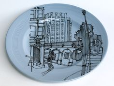 illustrated plate by Esther Coombs on etsy