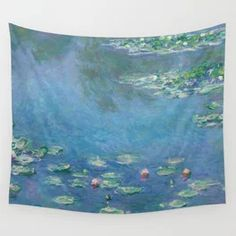 Water Lilies Monet Wall Tapestry Tapestry Bedroom, Wall Tapestries, Tapestry Wall Hanging, Geometric Circle, Geometric Lines, Rose Flower Photos, 90s Pattern, Marble Painting, Black And White Marble