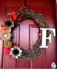 fall grapevine wreath with monogram