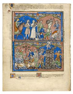 The Morgan Library & Museum Online Exhibitions - Morgan Picture Bible - Folio 17v. Illustrations from the Maciejowski Bible, 1250. Farm workers wear flat-crowned straw hats in fols. Many of the men wearing straw hats are wearing a simple linen coif under the straw hat. Halmhattar eller liknande som skydd för solen. År 1250. 2014-08-22.
