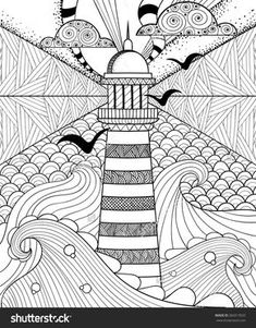 Hand drawn artistically ethnic ornamental patterned Lighthouse with clouds in doodle, zentangle tribal style for adult coloring book, pages, tattoo, t-shirt or prints. Sea vector illustration: compre este vector en Shutterstock y encuentre otras imágenes. Zentangle Drawings, Zentangle Patterns, Doodle Drawings, Doodles Zentangles, Zen Doodle Patterns, Adult Coloring Book Pages, Coloring Books, Adult Colouring In, Mandala Art