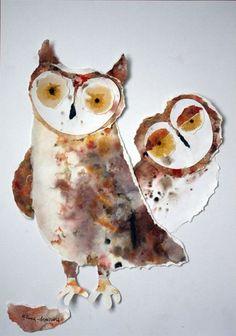 a pair of paper owls by Olya Ezova-Denisova