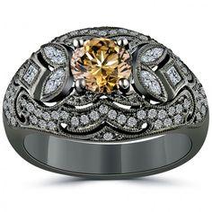 2.02 Carat Natural Fancy Cognac Brown Diamond Engagement Ring 14k Black Gold