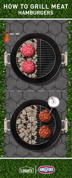 To grill the perfect burgers, first sear them over medium-heat Kingsford® coals for 4-5 minutes. Then get them nice and juicy over indirect heat until they reach 160º. Don't forget to melt the cheese and toast the buns!