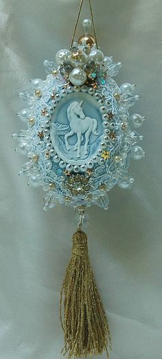Victorian egg ornament with unicorn.