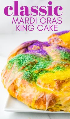 Learn how to make the classic, traditional Mardi Gras King cake from scratch with this easy, step by step recipe. This homemade cinnamon and sugar yeast cake is a simple, but delicious dessert (and it's great as a coffee cake too. Make one for your Carnivale celebration. #kingcake #mardigrascake Donut Recipes, Best Dessert Recipes, Fun Desserts, Holiday Recipes, Delicious Desserts, Cake Recipes, Vegetarian Desserts, Bacon Recipes, Summer Recipes