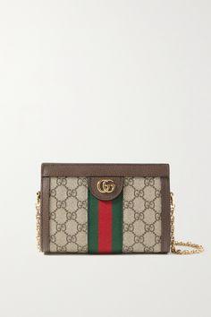 Brown Texture, Alessandro Michele, Canvas Shoulder Bag, Mini Bag, Calves, Vintage Inspired, Zip Around Wallet, Gucci, Chain