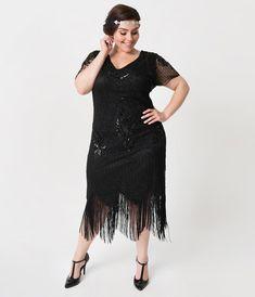 edf00a4fedde6 Unique Vintage Plus Size Black Beaded Short Sleeve Fringe Valentine Cocktail  Flapper Dress Mystery Dinner