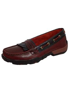 Twisted X Boots Leather Casual Driving Mocs WDM0005 Womens Oxblood/Black, $89.00