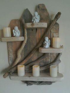 """Natural Driftwood Shelf Beautiful rustic unique piece, all securely fixed ,and collected from my local beach. All cleaned and treated, sanded suitable for indoor or outdoor use. Handmade by myself ,lovely conversation piece , brass hoop on rear for wall hanging , measures approximately 23"""" H x 4"""" D x 18"""" W (candles etc not included ) Any questions please ask , other sizes designs available upon request. Payment made within 48hrs please so I can arr..."""