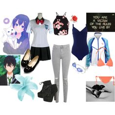 Nanase Yoshiko by demoniccupcakes321 on Polyvore featuring J Brand, Speedo, Tart, Breckelle's, Mawi and free