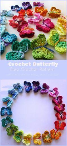 Crochet Butterfly Free Pattern, Crochet Applique Patterns Free, Crochet Stitches, Knit Crochet, Free Knitted Flower Patterns, Free Crochet Flower Patterns, Crochet Appliques, Easy Knitting Patterns, Embroidery Patterns