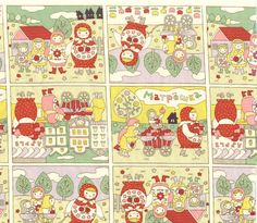 Marthyoska/Matpewka comic story design ,russian nesting doll,white cream frame fabric 1 yard, japanese fabric,kokka japan. $16.99, via Etsy.