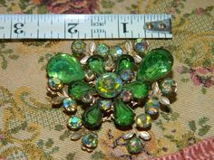 Vintage Green Rhinestone Butterfly Brooch by TheIDconnection