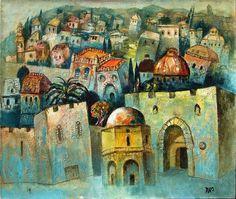 Jerusalem I (Oil on Canvas) by Gregory Kohelet at Safrai Fine Art gallery - Jerusalem Shabbat Shalom Images, Arabesque, Arabian Art, Moroccan Art, Fruit Painting, Biblical Art, Building Art, Jewish Art, Pretty Art