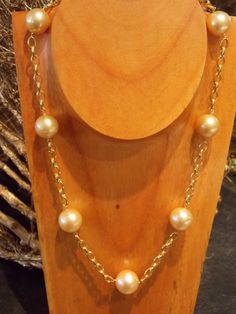 Warm and Glowing. Rare Golden South Seas Pearls necklace on 14k yellow gold chain. Under $2000  #southseaspearls #Christmasgifts #