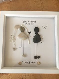 "Picture ""wedding"" couple celebrates wedding individually with name and date in Scotland handmade pebbles, pebble art, custom made orders - Glückwünsche zur konfirmation - Pictures on Wall ideas Wedding Titles, Wedding Frames, Wedding Art, Pebble Pictures, Wall Pictures, Selling Handmade Items, Great Wedding Gifts, Handmade Wedding Gifts, Stone Art"