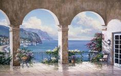 Mediterranean Arch Sans Foliage Mural - Sung Kim| Murals Your Way
