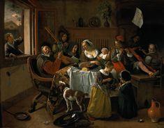 - Jan Steen - Het huishouden van Jan Steen - Leiden - het schilderij is levendig, chaotisch en wellustig. In dit schilderij speelt het licht een grote rol. ook het detail voor de stoffen is erg zichtbaar.