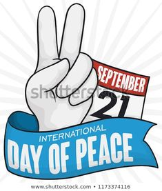 Hand doing the peace gesture, calendar with reminder date and ribbon to commemorate International Day of Peace in September Calendar Reminder, International Day Of Peace, September 21, Royalty Free Stock Photos, Ribbon, Pictures, Tape, Band, Ribbon Hair Bows