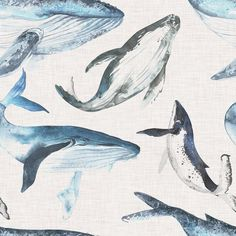 Watercolor Whales Fabric