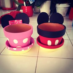 Mickey and Minnie flower pots!!! Made by Nikki Havener