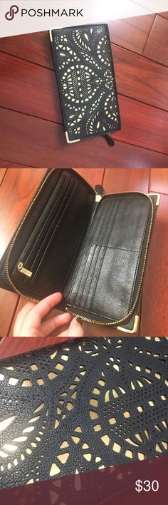 Black laser cut style wallet Black and gold zipper Wallet Bags