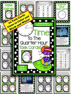 Springtime Time To The Quarter Hour Task Cards and Recording Sheet For 1.MD.B.3 $Paid #TPT #FernSmithsClassroomIdeas